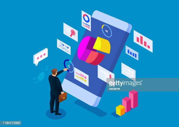 smartphone online analysis and statistics - accountancy stock illustrations