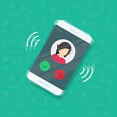 Smartphone or mobile phone ringing vector illustration, flat cartoon design cellphone call or vibrate with contact info on display, ring of phone icon