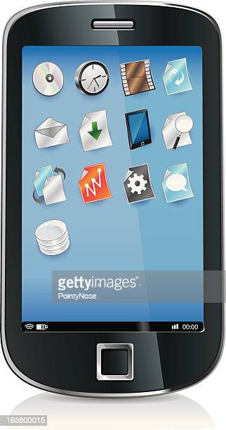smartphone, os and icons - desk toy stock illustrations, clip art, cartoons, & icons