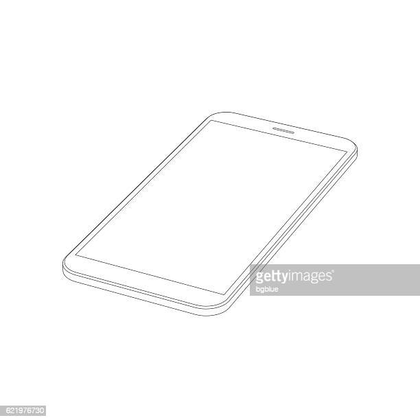 smartphone outline template isolated on white background. mobile phone icon. - blank screen stock illustrations, clip art, cartoons, & icons