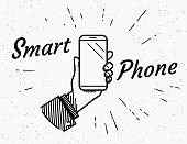 Smartphone retro illustration