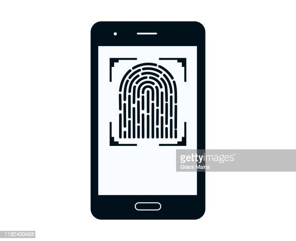 Smartphone Scanner Scanning Fingerprint To Log In-Vector