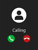 Smartphone screen of phone calling black background interface incoming.