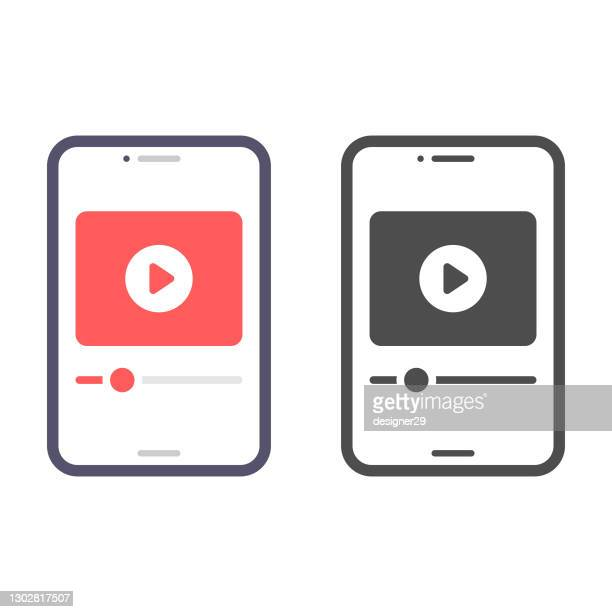 smartphone screen on video player icon vector design. - tutorial stock illustrations