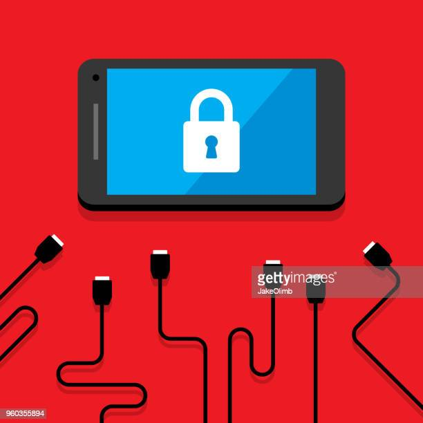 smartphone security - usb cable stock illustrations, clip art, cartoons, & icons