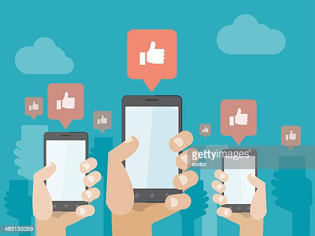 smartphone social likes - sociaal netwerk stock illustrations