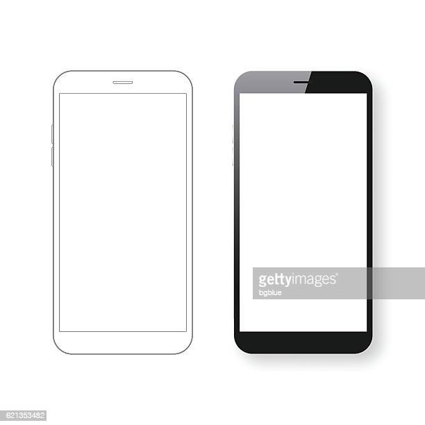 smartphone template and mobile phone outline isolated on white background. - smart phone stock illustrations