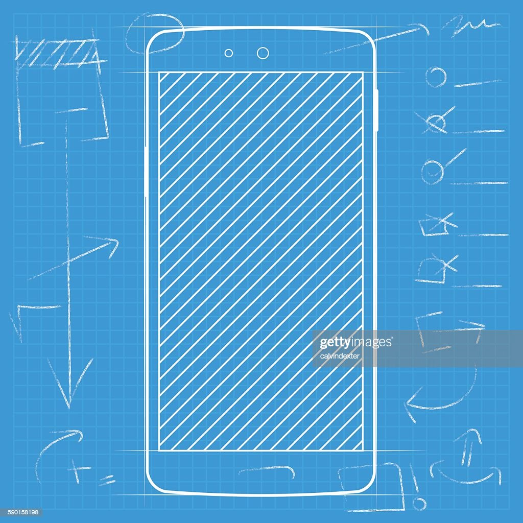 Smartphone template on blueprint