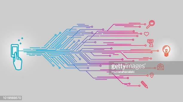 スマート フォン タッチ名案 - 回路基板点のイラスト素材/クリップアート素材/マンガ素材/アイコン素材