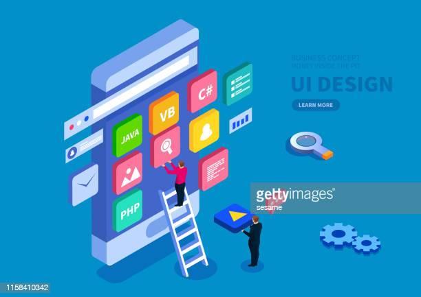 スマートフォンのuiデザイン、コンピュータプログラミング、検索エンジン設計 - ワイヤーフレーム作成点のイラスト素材/クリップアート素材/マンガ素材/アイコン素材