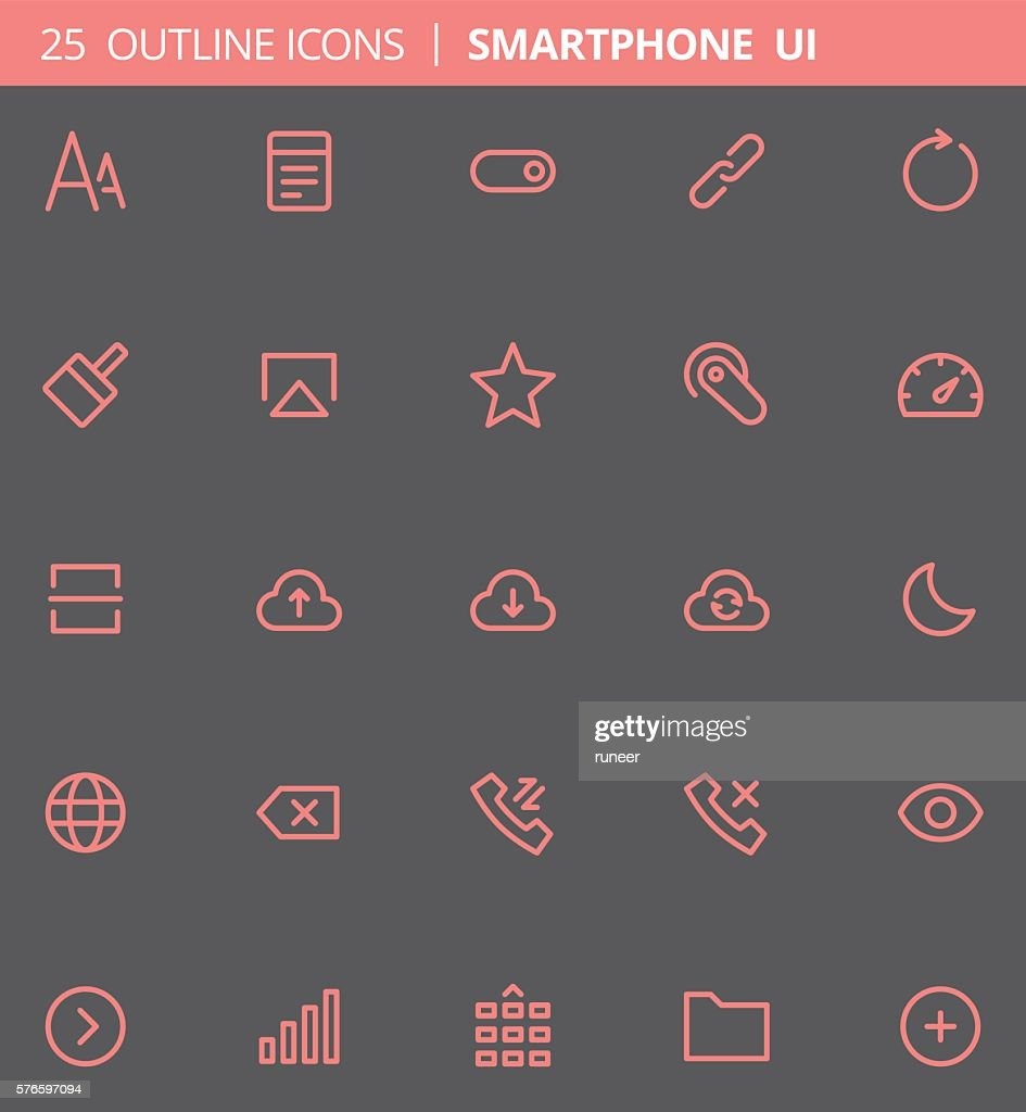 Smartphone UI Outline Icons (Set of 25)