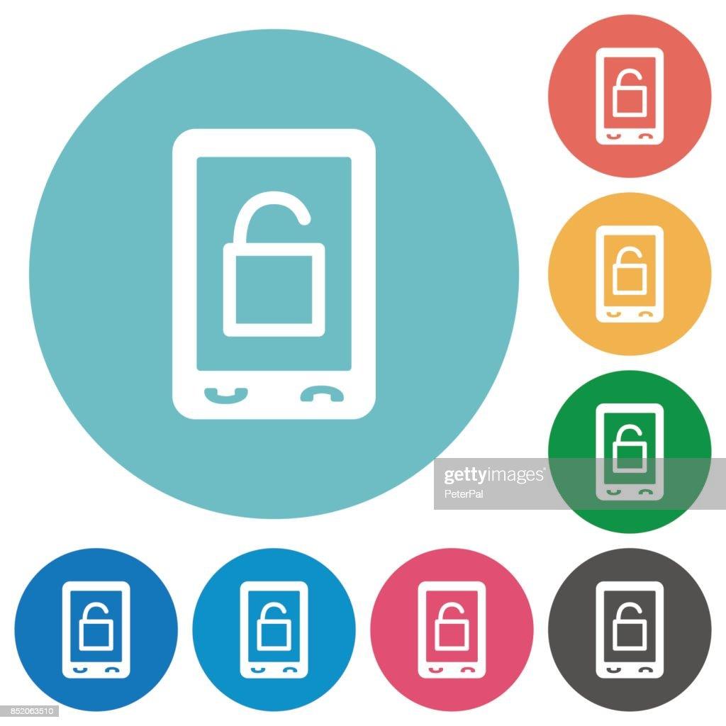 Smartphone unlock flat round icons