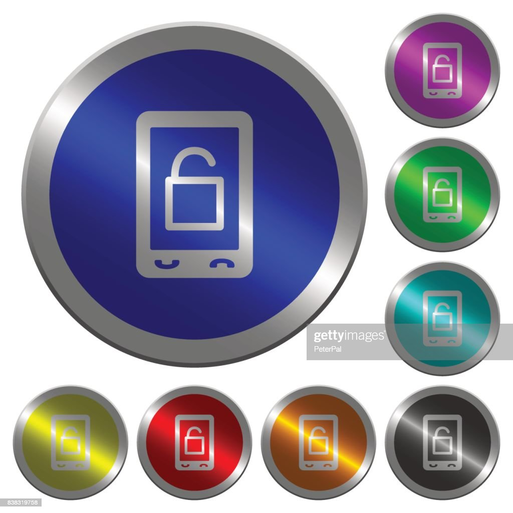 Smartphone unlock luminous coin-like round color buttons
