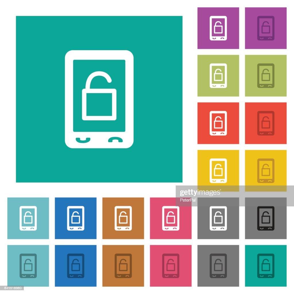 Smartphone unlock square flat multi colored icons