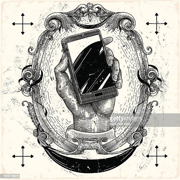 smartphone - etching stock illustrations