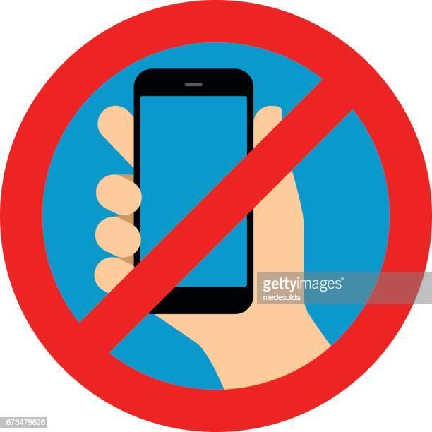 ilustrações de stock, clip art, desenhos animados e ícones de smartphone - proibido celular