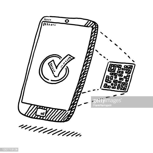 smartphone verification with qr code drawing - verification stock illustrations