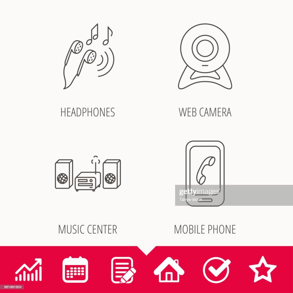 Smartphone, web camera and headphones icons.