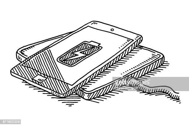 smartphone drahtlos aufladen zeichnung - aufladen stock-grafiken, -clipart, -cartoons und -symbole