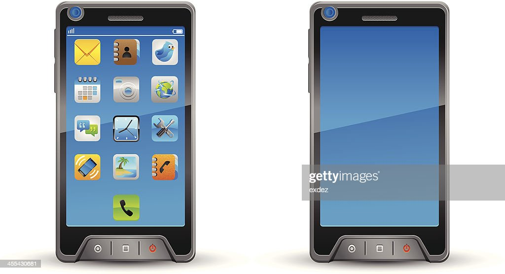 Smartphone with and without icons. : stock illustration