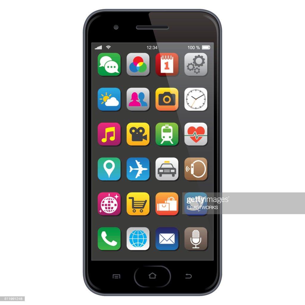 Smartphone with app icons : Stockillustraties