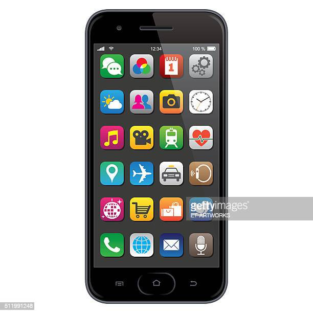 stockillustraties, clipart, cartoons en iconen met smartphone with app icons - beeldscherm
