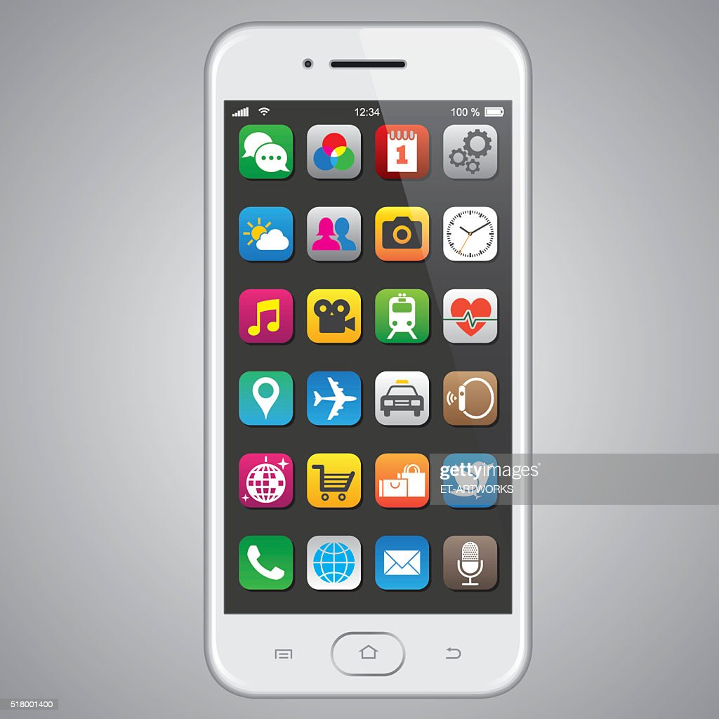 Smartphone with app icons : Stock Illustration