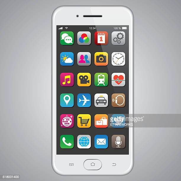 smartphone with app icons - telephone stock illustrations
