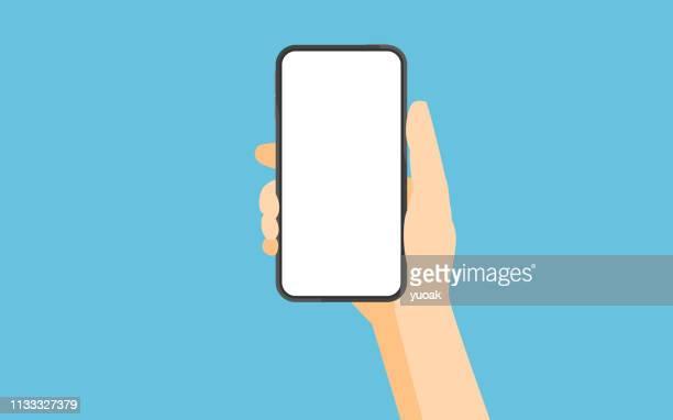 stockillustraties, clipart, cartoons en iconen met smartphone met leeg wit scherm - model gefabriceerd object
