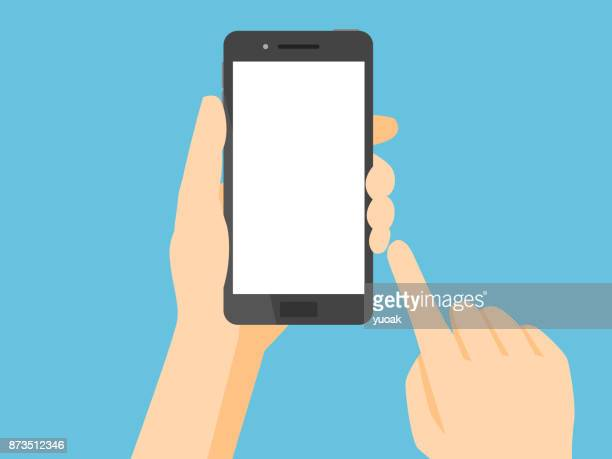 illustrazioni stock, clip art, cartoni animati e icone di tendenza di smartphone with blank white screen - tenere