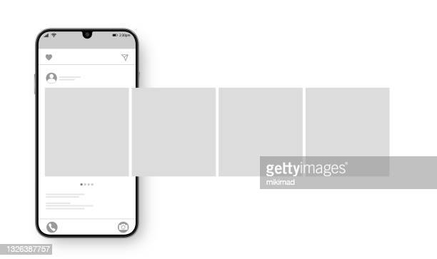 illustrazioni stock, clip art, cartoni animati e icone di tendenza di smartphone con post di interfaccia carosello sul social network. concetto di social media design. illustrazione vettoriale. - interfaccia utente grafica