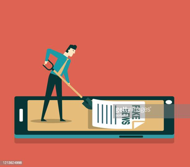 smartphone with cleaning - businessman - fake news stock illustrations