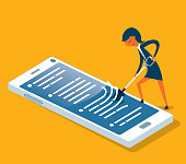 Smartphone with cleaning - Businesswoman