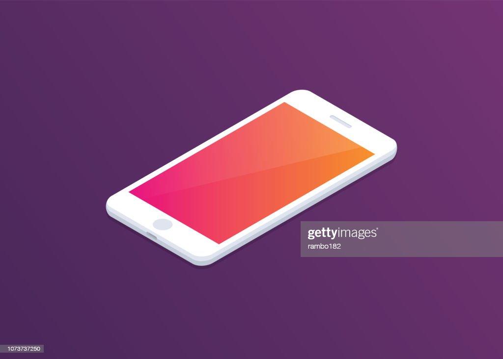 Smartphone avec écran coloré sur fond sombre. Illustration d'isométrique. Design moderne. : Illustration