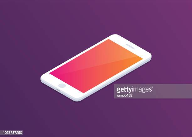 smartphone with colourful display on dark background. isometric illustration. modern design. - mobile phone stock illustrations