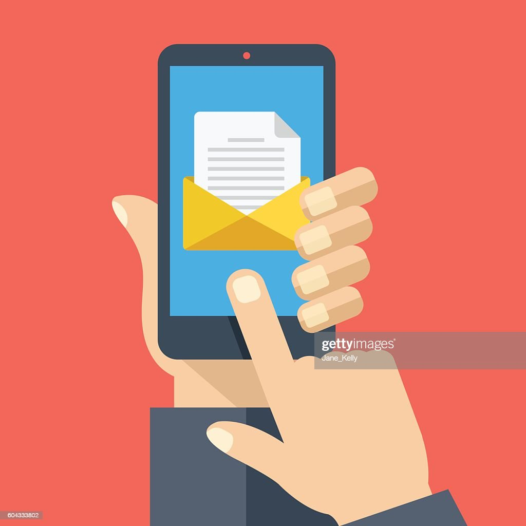 Smartphone with document, envelope on screen. Email concept. Flat design