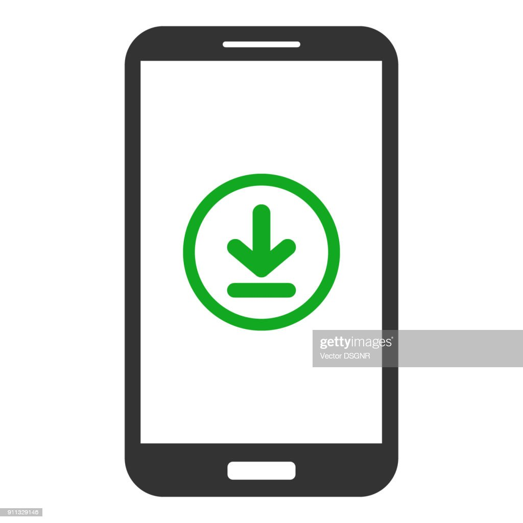 Smartphone with download button on screen. Vector icon