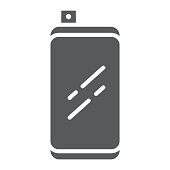 Smartphone with front retractable camera glyph icon, communication and device, modern phone sign, vector graphics, a solid pattern on a white background.
