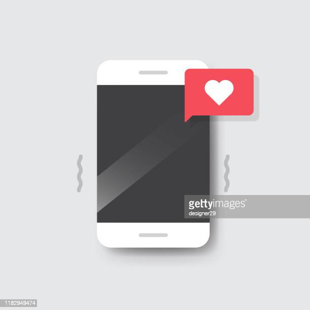 smartphone with heart emoji speech bubble message on screen. - auto post production filter stock illustrations