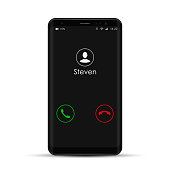 Smartphone with incoming call on display, vector isolated mobile phone realistic illustration