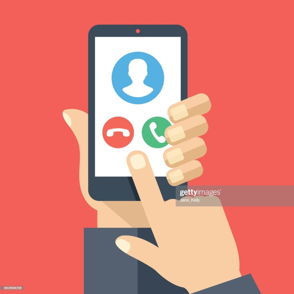 Smartphone with incoming call screen. Hand holding smartphone, finger touching screen. Accept or reject call. Flat design vector illustration