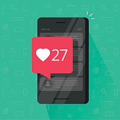 Smartphone with likes counter bubble vector illustration, flat carton mobile phone with social media like button notification, idea of cellphone followers, getting positive review, comment