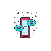 Smartphone with love messages flat color line icon. Cellphone with comis speech balloons. Dating services vector illustration. Valentine's Day template for web and online dating applications.
