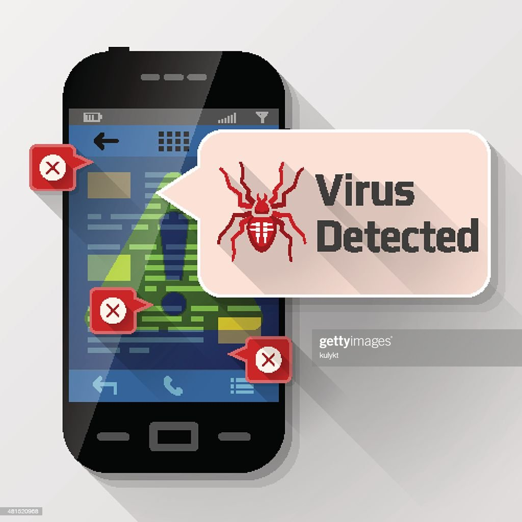 Smartphone with message bubble about computer virus