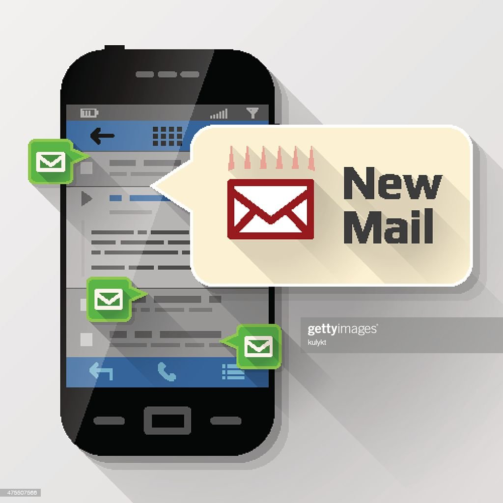 Smartphone with message bubble about new mail