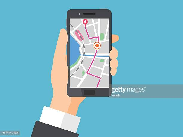 smartphone with navigation - thoroughfare stock illustrations, clip art, cartoons, & icons