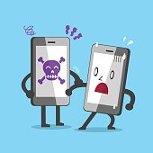 Smartphone with skull icon catching another smartphone