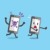 Smartphone with skull icon running to catch another smartphone