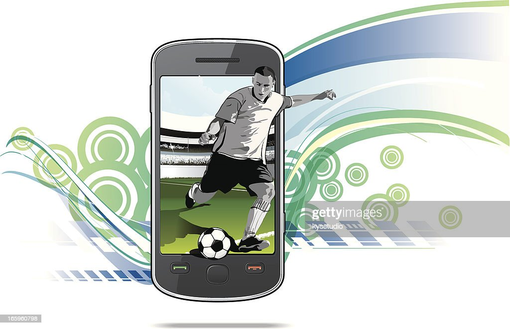 Smartphone with soccer player
