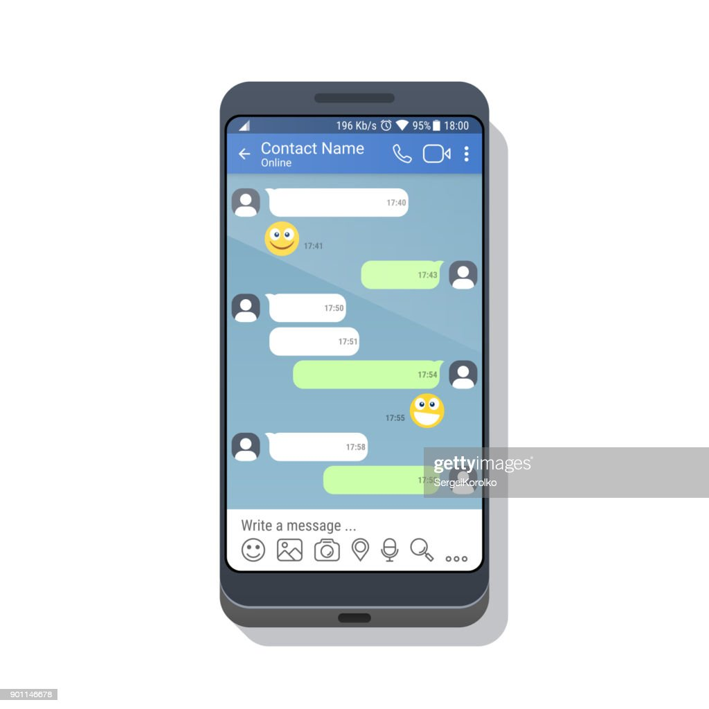 Smartphone with social network or messenger application template for mobile device. Chat or sms app interface concept. Vector illustration